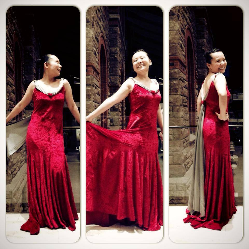 Teng Li wearing her Atelier Rosemarie Umetsu gown on October 24, 2013 for the Esprit Orchestra performance. Photo credit: Sydney Chun.
